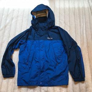 Marmot two tone blue rain coat, size medium.